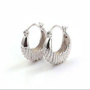 9k White Gold Basket Hoop Earrings